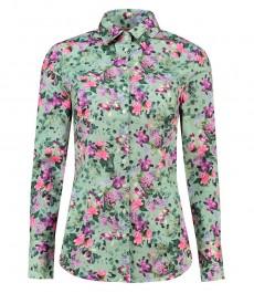 Женская приталенная рубашка, зеленая с фиолетовыми цветами - манжеты на пуговицах