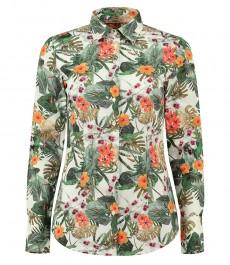 Женская приталенная рубашка, кремовая с зеленым цветочным принтом - манжеты на пуговицах