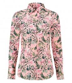 Женская приталенная рубашка, розовая в зеленый цветочный принт - манжеты на пуговицах