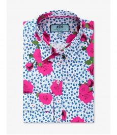 Женская приталенная рубашка, голубая в розовый цветочный принт - Манжеты на пуговицах