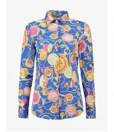 Женская приталенная рубашка, голубая в жёлтый принт цепи - Манжеты на пуговицах