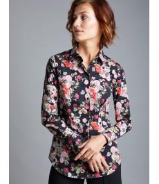 Женская приталенная рубашка, чёрная в розовый цветочный принт - Манжеты на пуговицах