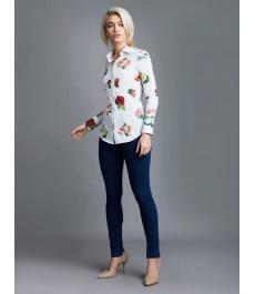 Женская приталенная рубашка, белая в красный цветочный принт - Манжеты на пуговицах