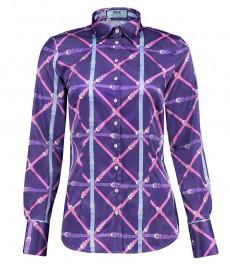 Женская приталенная рубашка, принт ремни - клетка, сатин - манжеты на пуговицах