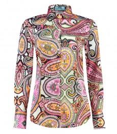 Женская приталенная рубашка, желтая, розовый пейсли, сатин - манжеты на пуговицах