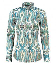 Женская приталенная рубашка, голубая, белый пейсли, сатин - манжеты на пуговицах