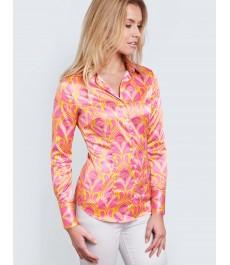 Женская приталенная рубашка, розовая в жёлтый ретро геометрический дизайн, сатин - манжеты на пуговицах