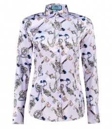 Women's Lilac & Pink Notre Keys Design Fitted Satin Shirt - Single Cuff