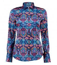 Women's Blue & Orange Art Deco Paisley Design Fitted Satin Shirt - Single Cuff