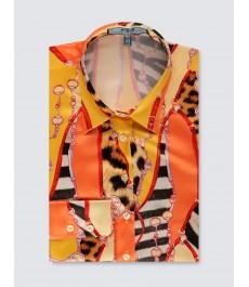 Женская приталенная английская рубашка, атласная, принт с цепями, рукав под пуговицу