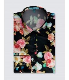 Женская приталенная атласная рубашка, ткань добби - рукав под пуговицу