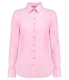 Женская приталенные рубашки, розовая с контрастыми деталями - манжеты на пуговицах