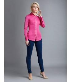 Женская приталенная рубашка, Фуксия и белые контрастные детали - Манжеты на пуговицах