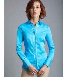 Женская приталенная бироюзовая рубашка, с контрастной окантовкой - рукава под пуговицы