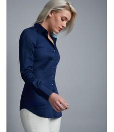 Женская приталенная английская рубашка, тёмно-синего цвета