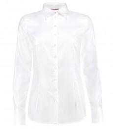 Женская приталенная рубашка, твил, белая - манжеты на пуговицах