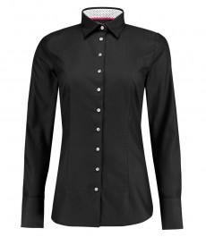 Женская приталенная рубашка, черная с контрастными деталями, ткань ёлочка - манжеты на пуговицах