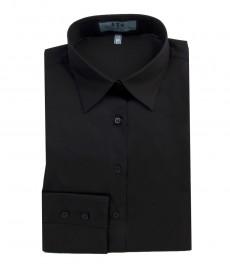 Женская однотонная приталенная стрейчевая рубашка чёрного цвета, одинарная манжета