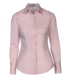 Женская приталенная однотонная рубашка, светло-розового цвета, ткань стрейч - одинарная манжета