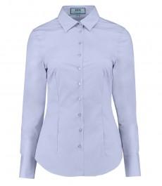 Женская приталенная хлопковая стрейч-рубашка , светло-голубая - одинарная манжета