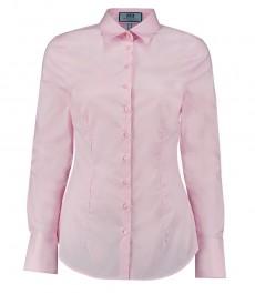 Женская приталенная стрейч-рубашка светло-розового цвета - одинарная манжета