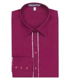 Женская приталенная однотонная фиолетовая рубашка-одинарные манжеты