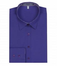 Женская однотонная блузка, цвета голубого ириса, приталенная- одинарные манжеты.
