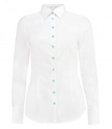 Женская приталенная рубашка, белая с контрастыми деталями - манжеты на пуговицах