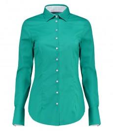 Женская приталенная рубашка, цвет морской волны с контрастными деталями - манжеты на пуговицах