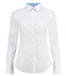 Женская приталенная рубашка, белая с контрастными деталями - манжеты на пуговицах