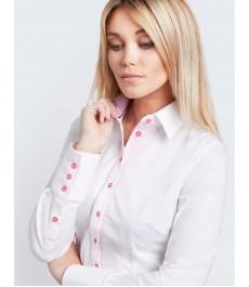 Женская приталенная белая рубашка с контрастной стильной обработкой - манжеты на пуговицах