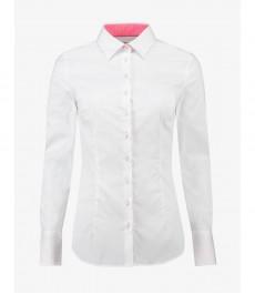 Женская приталенная рубашка, белая с розовыми контрастными деталями - манжеты на пуговицах