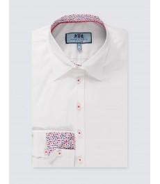 Женская белая приталенная английская рубашка, ткань стрейч, рукав под пуговицу