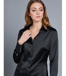 Женская чёрная приталенная атласная рубашка - рукав под пуговицу