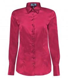 Женская приталенная рубашка, темно-розовый - манжеты на пуговицах