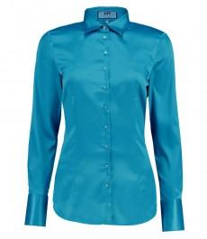 Женская приталенная рубашка, бирюзовая - манжеты на пуговицах