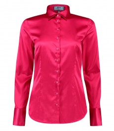 Женская приталенная рубашка, фуксия сатин - манжеты на пуговицах