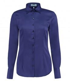 Женская приталенная рубашка, голубая - манжеты на пуговицах