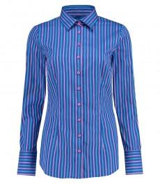 Женская приталенная рубашка, голубая в розовую полоску - манжеты на пуговицах
