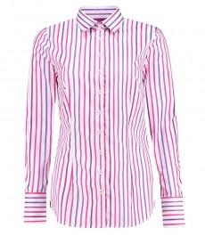 Женская приталенная рубашка, светло-розовая в фиолетовую полоску - манжеты на пуговицах