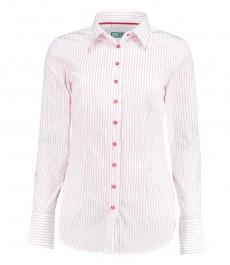 Женская приталенная рубашка, белая в розовую полоску - манжеты на пуговицах