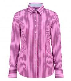 Женская приталенная рубашка, розовая и фуксия, в полоску - манжеты на пуговицах