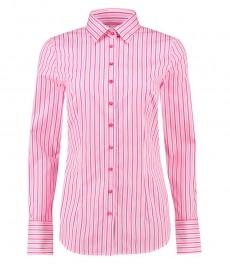 Женская приталенная рубашка, белая в розовую полоску, хлопок - манжеты на пуговицах