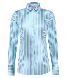Женская приталенная рубашка, голубая в бирюзовую мульти полоску, хлопок - манжеты на пуговицах