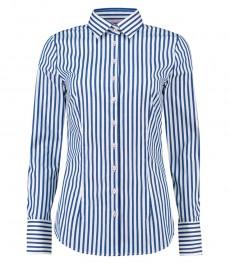 Женская приталенная рубашка, белая в голубую полоску - манжеты на пуговицах