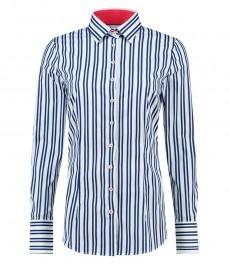 Женская приталенная рубашка, белая в тёмно-синюю полоску с контрастыми деталями - манжеты на пуговицах