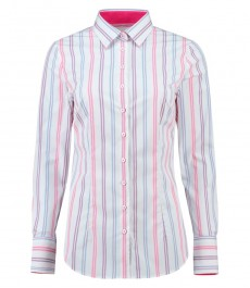 Women's Multi Stripe Fitted Shirt With Contrast Detail - Single Cuff