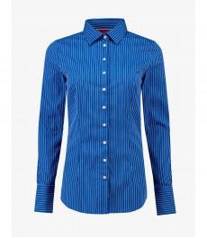 Женская приталенная рубашка, голубая в белую полоску с контрастными деталями - манжеты на пуговицах