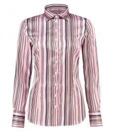 Женская приталенная рубашка, розовая в черную полоску, сатин - манжеты на пуговицах