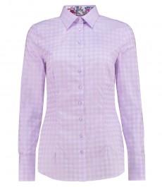 Женская приталенная рубашка, сиреневая в клетку - манжеты на пуговицах